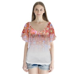 Effect Isolated Graphic Flutter Sleeve Top