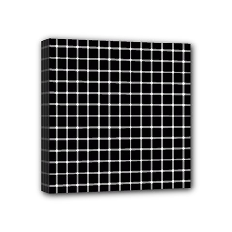 Black and white optical illusion dots and lines Mini Canvas 4  x 4