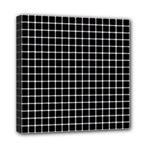 Black and white optical illusion dots and lines Mini Canvas 8  x 8