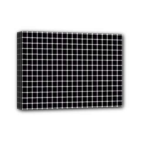Black and white optical illusion dots and lines Mini Canvas 7  x 5