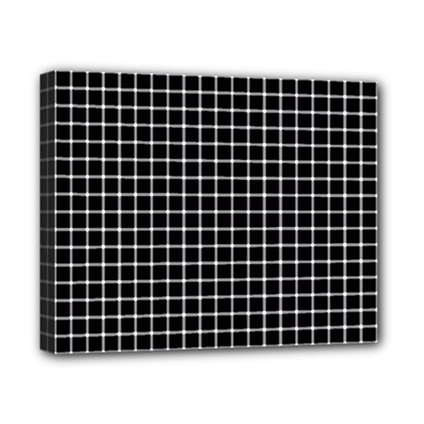 Black and white optical illusion dots and lines Canvas 10  x 8