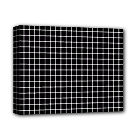 Black and white optical illusion dots and lines Deluxe Canvas 14  x 11