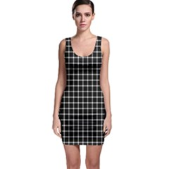 Black and white optical illusion dots and lines Sleeveless Bodycon Dress