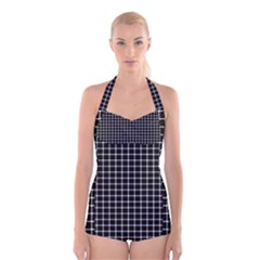 Black and white optical illusion dots and lines Boyleg Halter Swimsuit