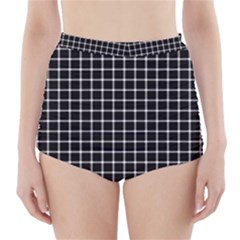 Black and white optical illusion dots and lines High-Waisted Bikini Bottoms