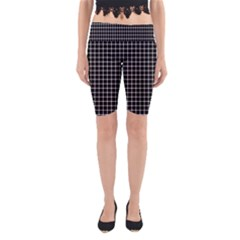 Black and white optical illusion dots and lines Yoga Cropped Leggings