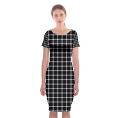 Black and white optical illusion dots and lines Classic Short Sleeve Midi Dress