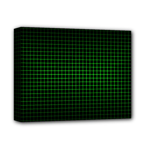 Optical Illusion Grid in Black and Neon Green Deluxe Canvas 14  x 11