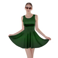 Optical Illusion Grid in Black and Neon Green Skater Dress