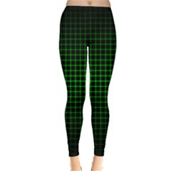 Optical Illusion Grid in Black and Neon Green Leggings