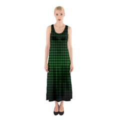 Optical Illusion Grid in Black and Neon Green Sleeveless Maxi Dress