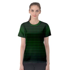 Optical Illusion Grid in Black and Neon Green Women s Sport Mesh Tee