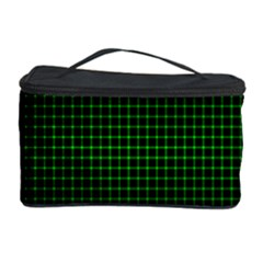 Optical Illusion Grid in Black and Neon Green Cosmetic Storage Case