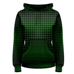 Optical Illusion Grid in Black and Neon Green Women s Pullover Hoodie