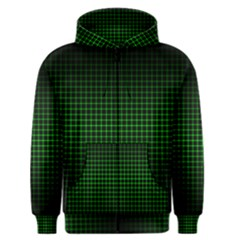 Optical Illusion Grid in Black and Neon Green Men s Zipper Hoodie