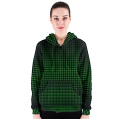 Optical Illusion Grid in Black and Neon Green Women s Zipper Hoodie
