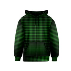 Optical Illusion Grid in Black and Neon Green Kids  Zipper Hoodie