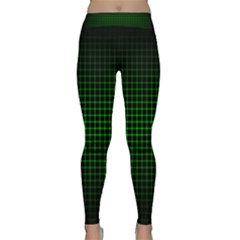 Optical Illusion Grid in Black and Neon Green Classic Yoga Leggings