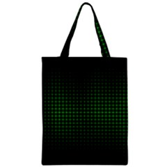 Optical Illusion Grid in Black and Neon Green Zipper Classic Tote Bag