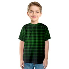 Optical Illusion Grid in Black and Neon Green Kids  Sport Mesh Tee