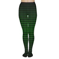 Optical Illusion Grid in Black and Neon Green Women s Tights