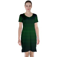Optical Illusion Grid in Black and Neon Green Short Sleeve Nightdress