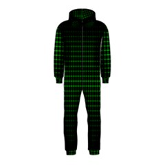 Optical Illusion Grid in Black and Neon Green Hooded Jumpsuit (Kids)