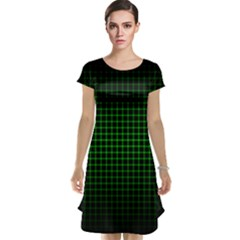 Optical Illusion Grid in Black and Neon Green Cap Sleeve Nightdress