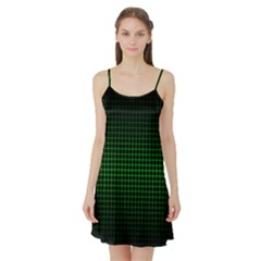 Optical Illusion Grid in Black and Neon Green Satin Night Slip