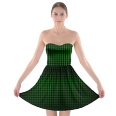 Optical Illusion Grid in Black and Neon Green Strapless Bra Top Dress