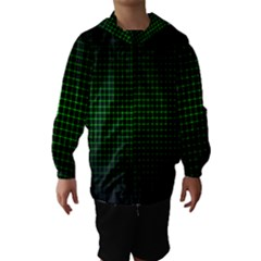 Optical Illusion Grid in Black and Neon Green Hooded Wind Breaker (Kids)