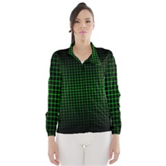 Optical Illusion Grid In Black And Neon Green Wind Breaker (women)