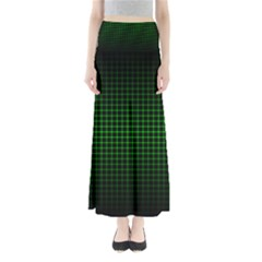 Optical Illusion Grid in Black and Neon Green Maxi Skirts