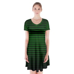 Optical Illusion Grid in Black and Neon Green Short Sleeve V-neck Flare Dress
