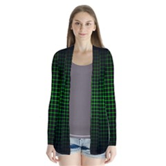 Optical Illusion Grid in Black and Neon Green Cardigans