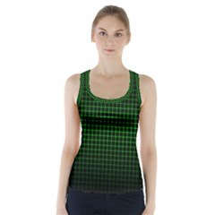 Optical Illusion Grid in Black and Neon Green Racer Back Sports Top