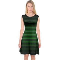 Optical Illusion Grid in Black and Neon Green Capsleeve Midi Dress