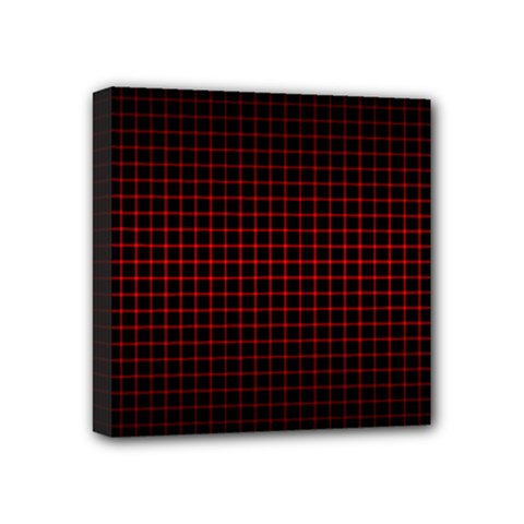 Optical Illusion Grid In Black And Red Mini Canvas 4  X 4