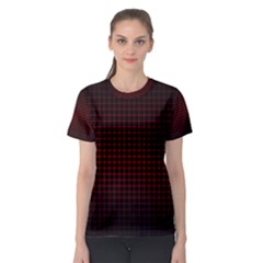 Optical Illusion Grid in Black and Red Women s Sport Mesh Tee
