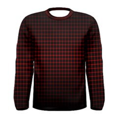 Optical Illusion Grid in Black and Red Men s Long Sleeve Tee