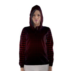 Optical Illusion Grid in Black and Red Hooded Wind Breaker (Women)