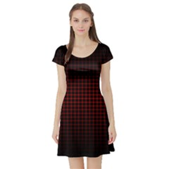 Optical Illusion Grid in Black and Red Short Sleeve Skater Dress