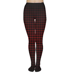 Optical Illusion Grid in Black and Red Women s Tights