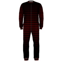 Optical Illusion Grid in Black and Red OnePiece Jumpsuit (Men)