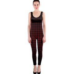 Optical Illusion Grid in Black and Red OnePiece Catsuit