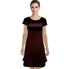 Optical Illusion Grid in Black and Red Cap Sleeve Nightdress