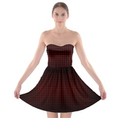 Optical Illusion Grid in Black and Red Strapless Bra Top Dress