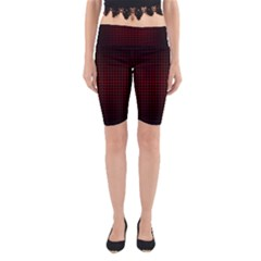 Optical Illusion Grid in Black and Red Yoga Cropped Leggings