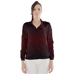 Optical Illusion Grid in Black and Red Wind Breaker (Women)