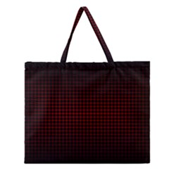 Optical Illusion Grid in Black and Red Zipper Large Tote Bag